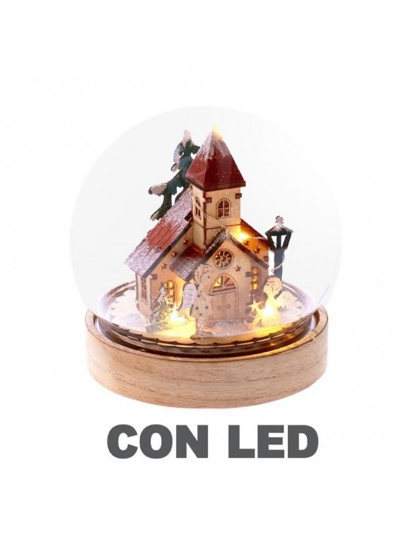 Palla di vetro led legno chiesetta naturale cm12 5x12 5h14 5