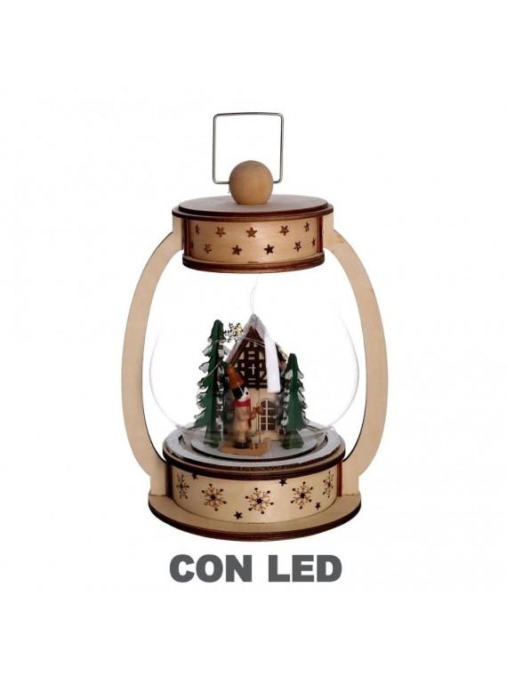 Palla di vetro led legno lanterna naturale cm17x13h23 5