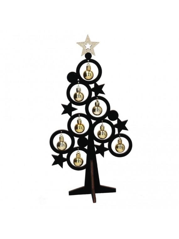 Albero legno nero con campanelli oro cm19x11h37 5