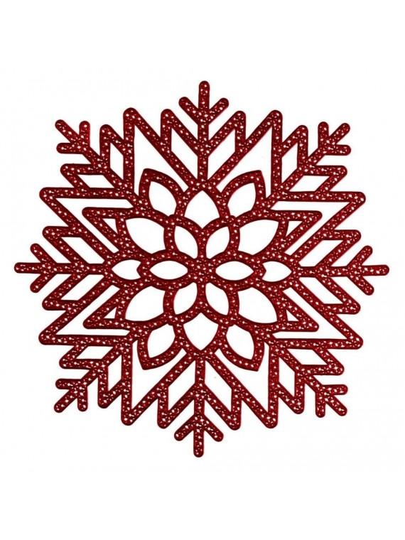 Tovaglietta plastica fiocco di neve rosso cm 41x41