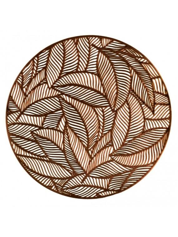 Tovaglietta plastica foglie oro tondo cm diam 38