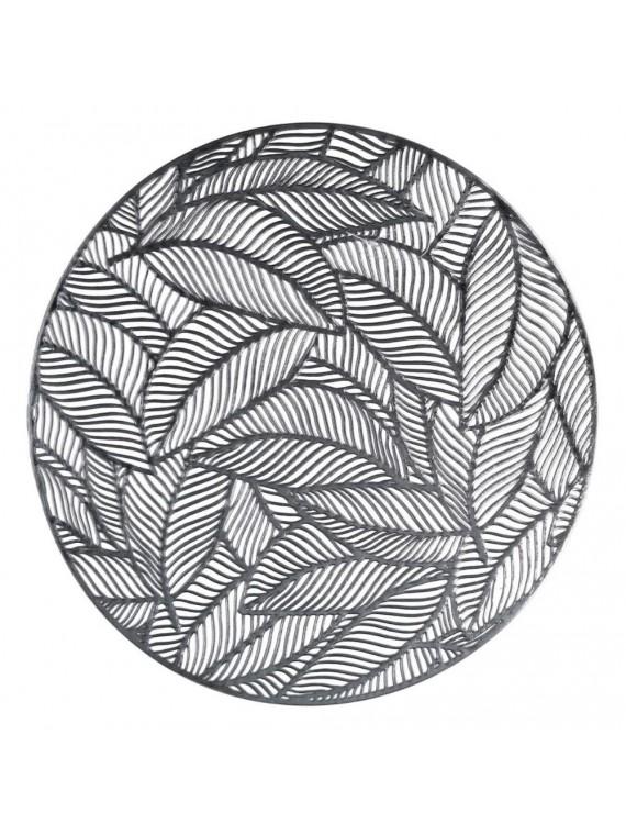 Tovaglietta plastica foglie argento tondo cm diam 38