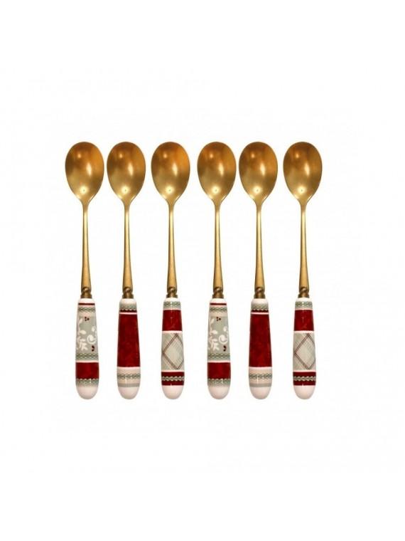 Brandani Cucchiaino connubio old gold set 6 pz inox