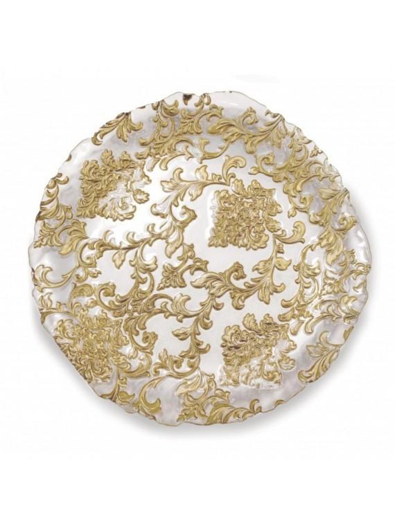 Brandani Centrotavola damasco gold cm 40 vetro