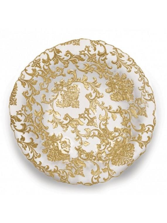 Brandani Piatto damasco gold cm 32 vetro