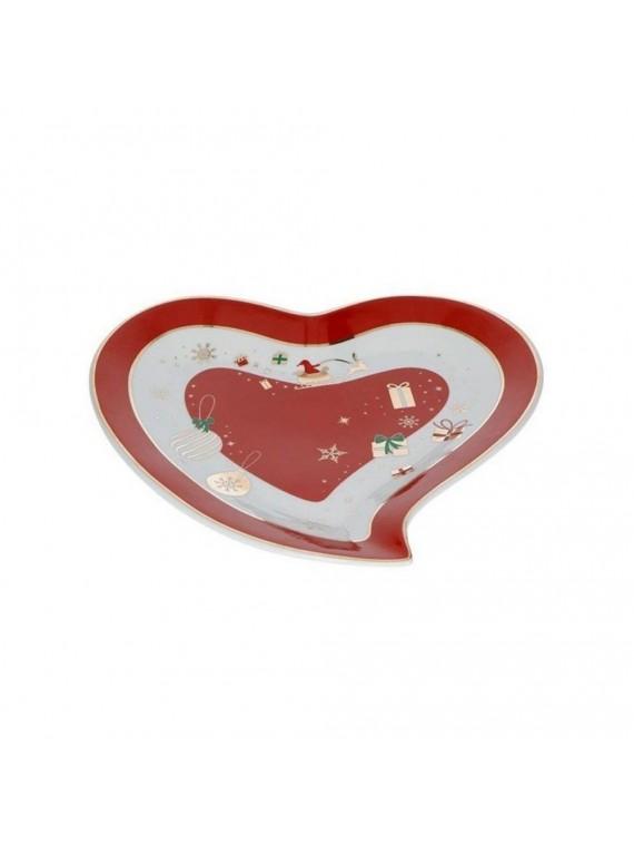 Brandani Vassoietto cuore alleluia porcellana rosso