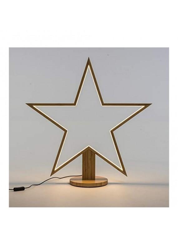 STELLA CON BASE LEGNO NATURALE 35 CM CON LED