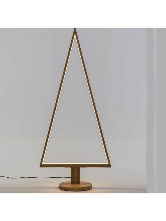 ALBERO TRIANGOLARE CON BASE LEGNO NATURALE 170 CM CON LED