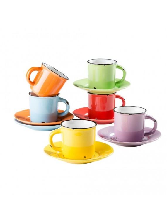 TAZZINE CAFFE CON PIATTINO OLD COUNTRY SET 6 pezzi