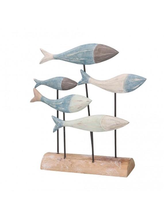 Pesce legno mare blu cm27x7 3h28 5