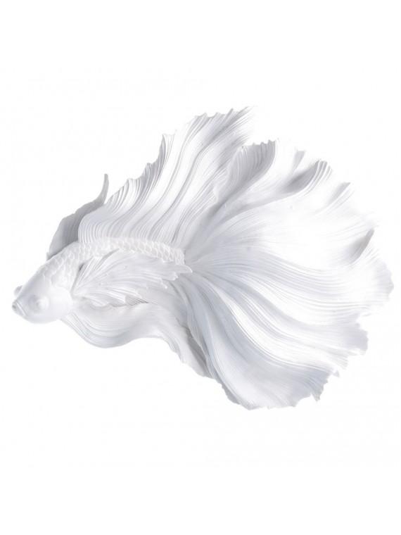 Pesce resina da appendere bianco cm37 8x 31 5x9 5