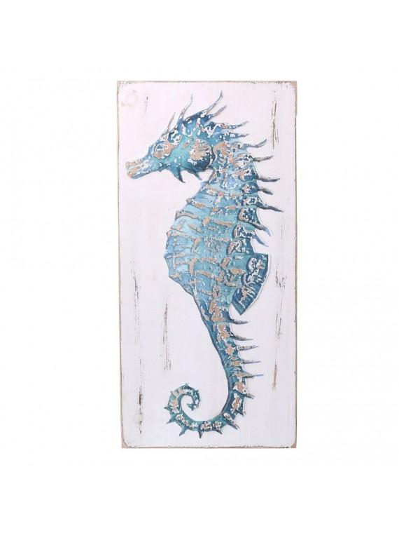 Quadro legno mare cavalluccio blu rettan golare cm29x60x4