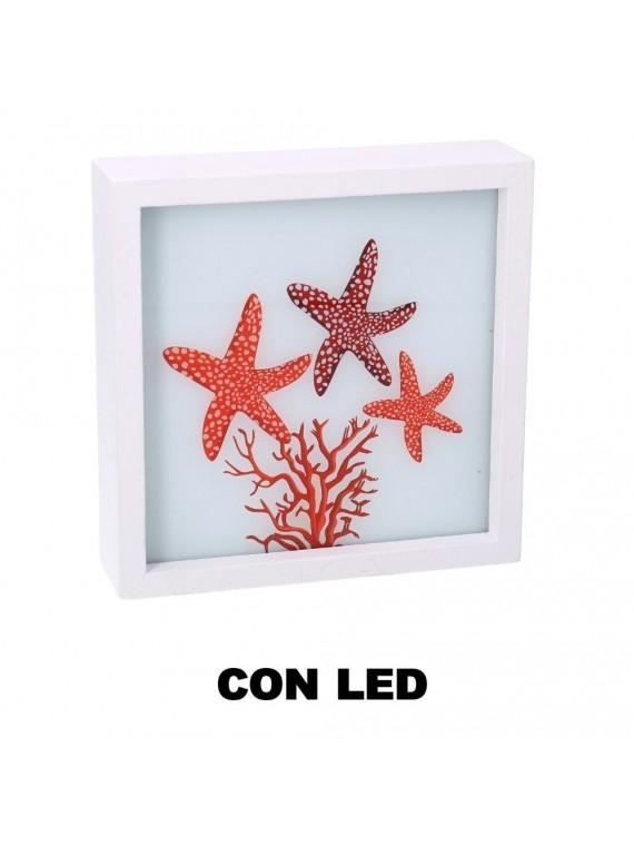 Quadro led legno mare stelle marine e co rallo bianco quadro cm15x15x4