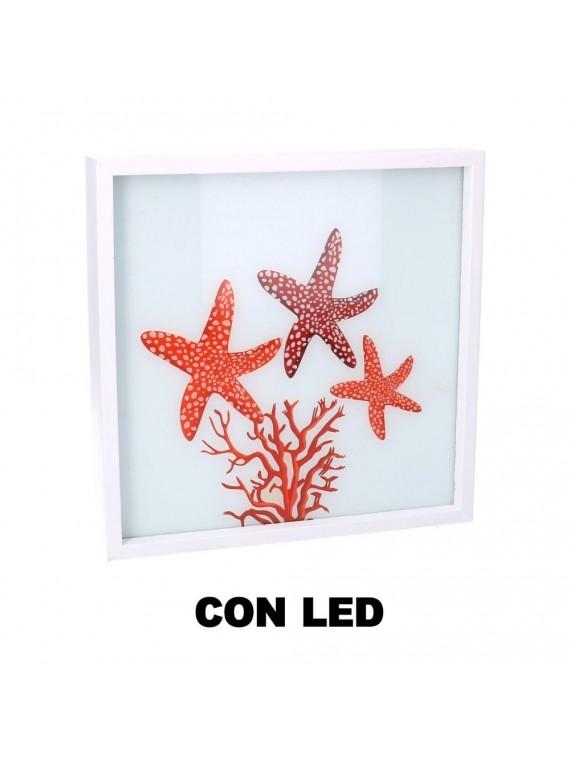 Quadro led legno mare stelle marine bian co quadro cm24x24x4