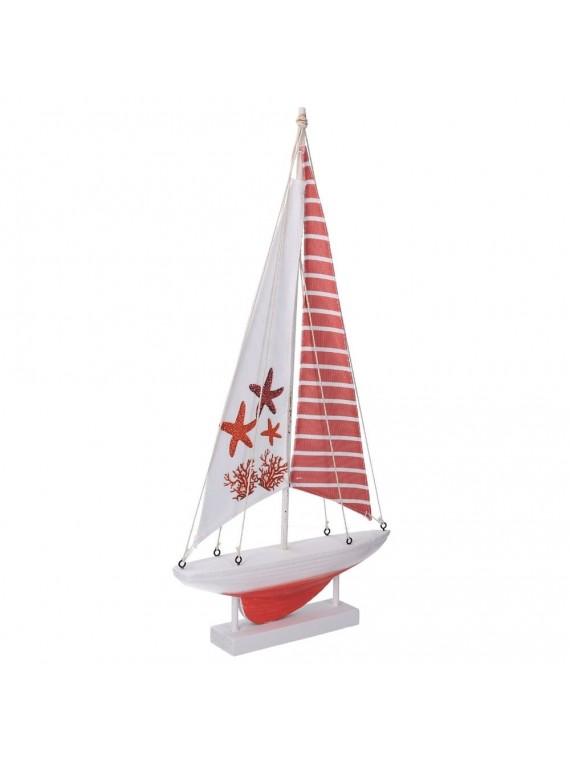 Barca legno mare stelle marine rosso cm1 8x5h37