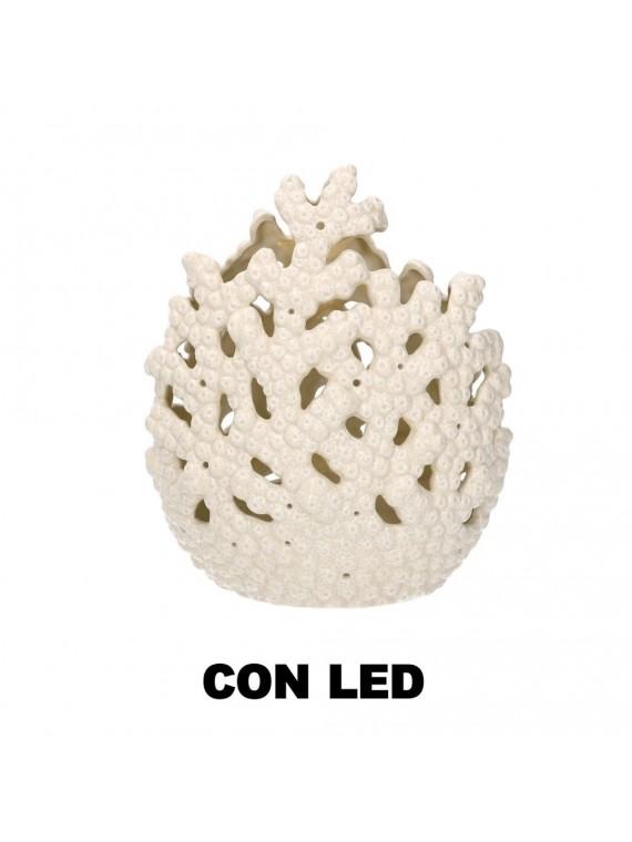 Corallo ceramica mare con led bianco cm1 7 8x11 4h21
