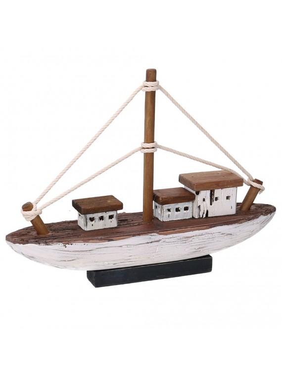 Barca legno mare bianco cm35x8 5h25