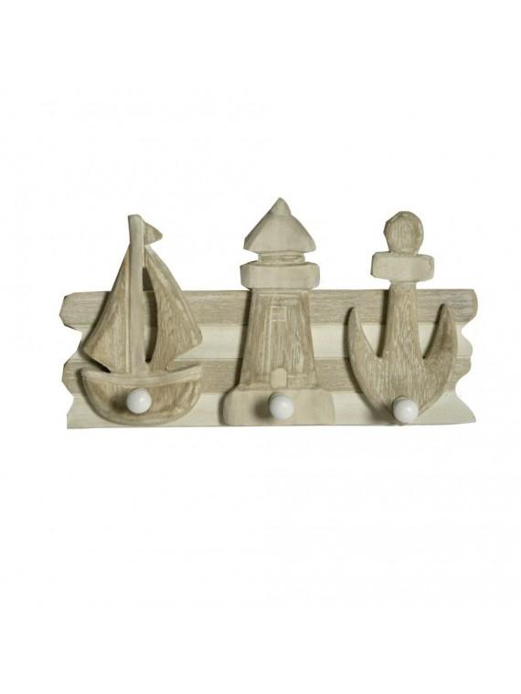 Appendino mare legno 3 posti barca faro ancora cm35 5x16 5x6 5