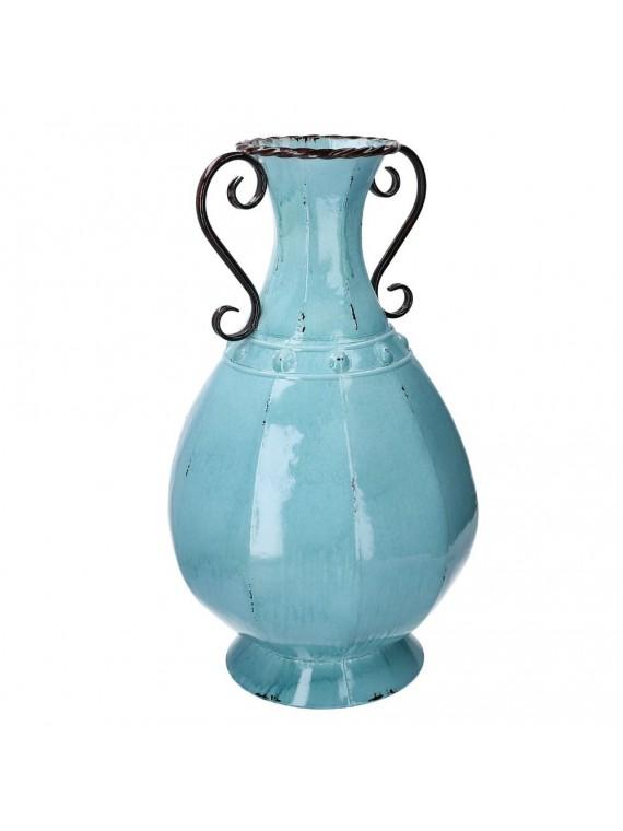 Vaso metallo mare anfora azzurro tondo c m34 3h60