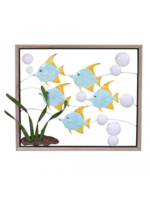 Quadro metallo mare pesci con bolle azzu rro cm70x60x3