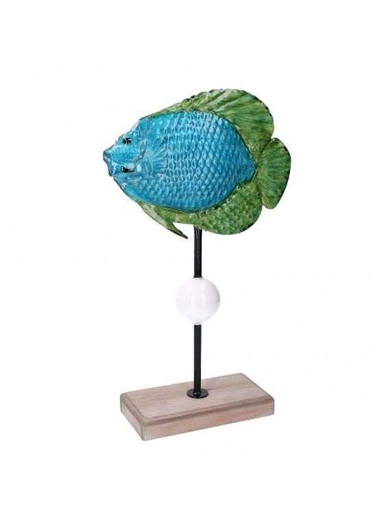Pesce metallo mare azzurro cm26 7x10 2h4 5 7