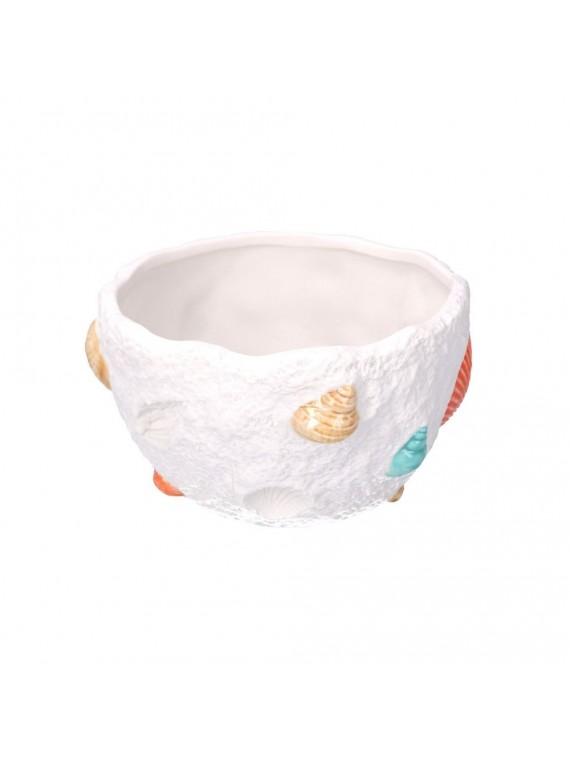 Vaso ceramica mare con decori bianco ton do cm14h8