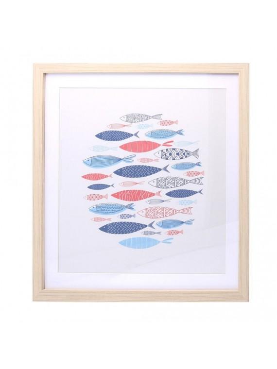 Quadro legno pesci colorati cm50x50x1 7
