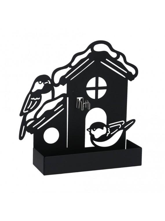 Portazampirone metallo casa nero cm18x5h 17