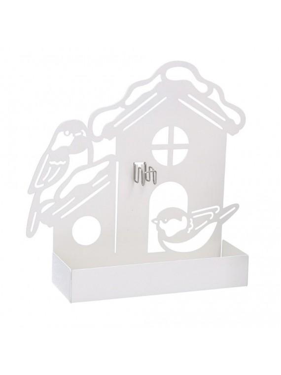 Portazampirone metallo casa bianco cm18x 5h17