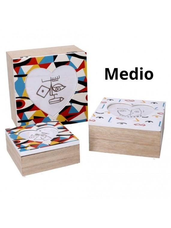 Scatola legno 2 multicolor quadro