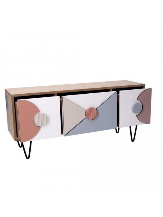 Portatutto legno 3 cassetti multicolor