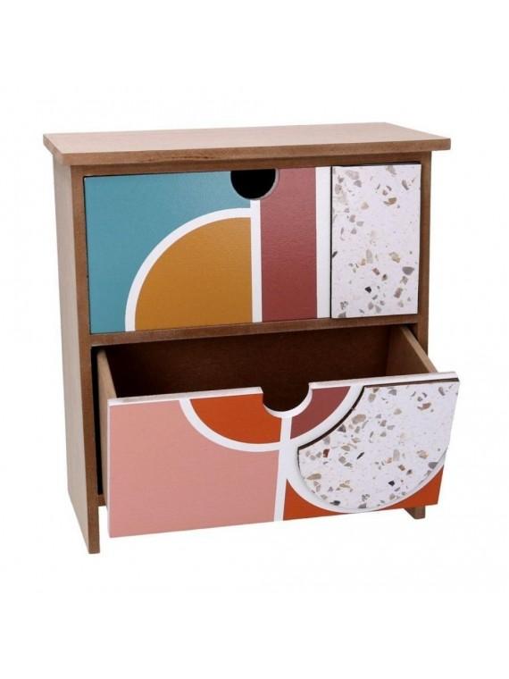 Portatutto legno 2 cassetti multicolor