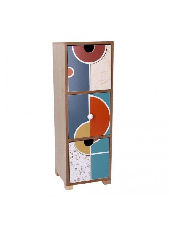 Portatutto legno 3 cassetti multicolor rettangolare