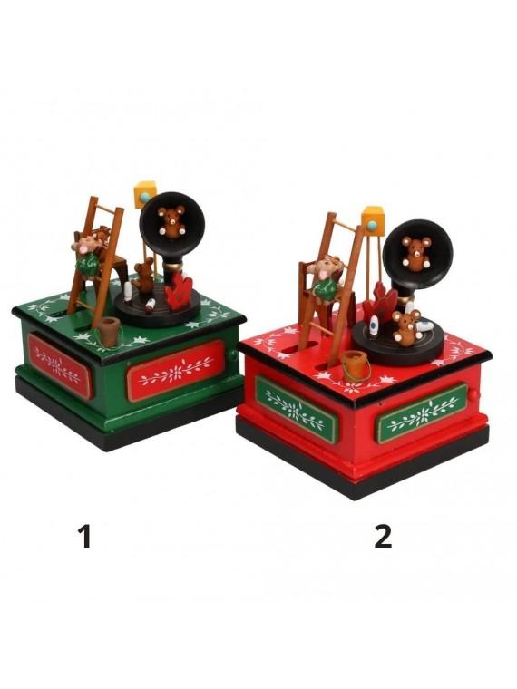 Carillon legno grammofono assortiti cm 12 x 12 h17
