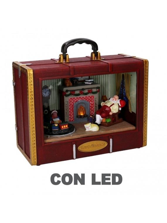 Decorazione resina led valigia con scena di natale cm 26 5 x 12 5 h21 5