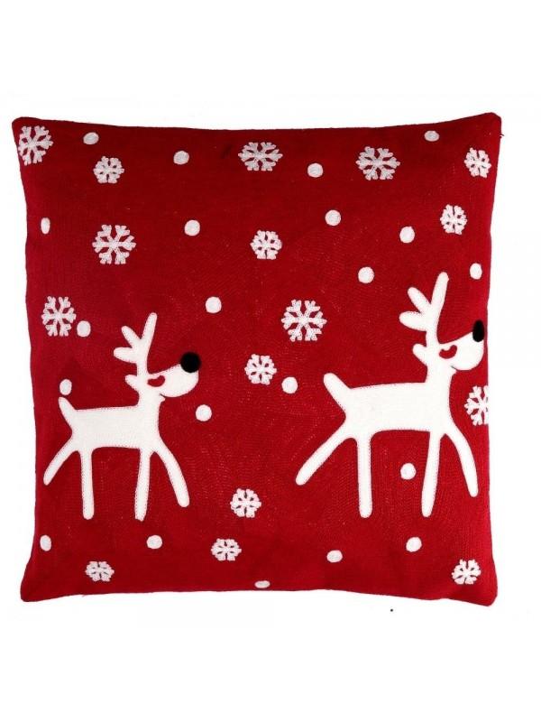 Cuscino tessuto renna rosso quadro cm 45 x 45