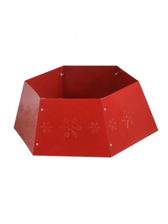 Copribase albero metallo pieghevole rosso esagonale cm 68 x 68 h25