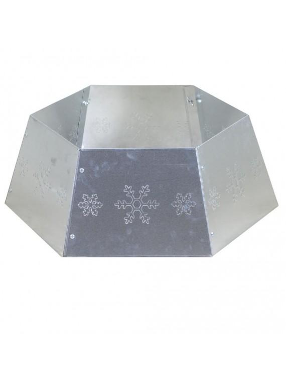 Copribase albero metallo pieghevole argento esagonale cm 68 x 68 h25