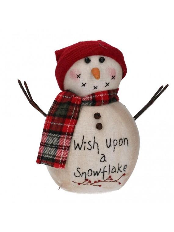 Fermaporta tessuto pupazzo di neve con cappellino bianco cm 15 h24