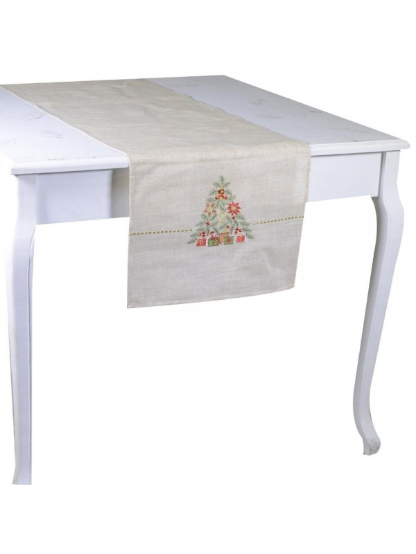 Runner tessuto albero bianco cm 40 x 150