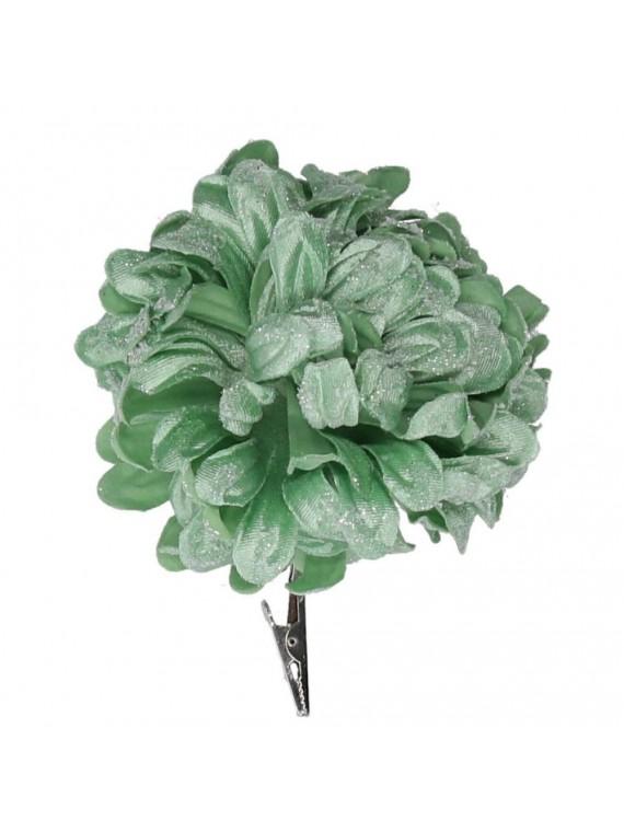 Fiore fibra sintetica dalia con clip verde acqua cm h16
