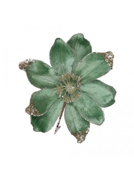 Fiore fibra sintetica glitter con clip verde acqua cm h23