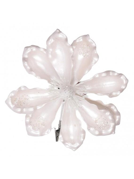 Fiore plastica con clip bianco cm h15