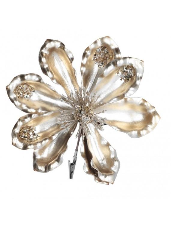 Fiore plastica con clip champagne cm h15