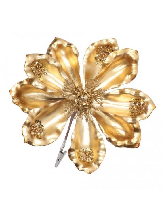 Fiore plastica con clip oro cm h15