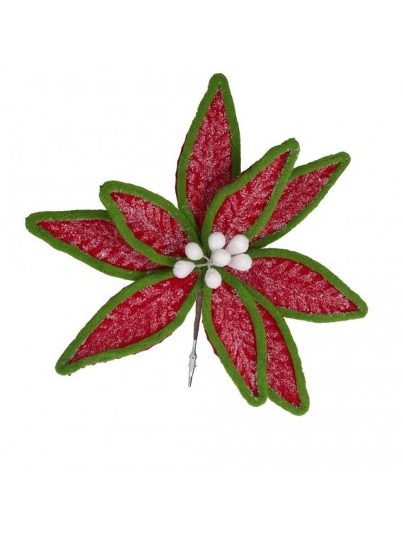 Fiore fibra sintetica rosso bordo verde con clip cm h18