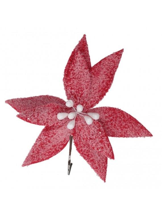 Fiore fibra sintetica con glitter rosso cm h18