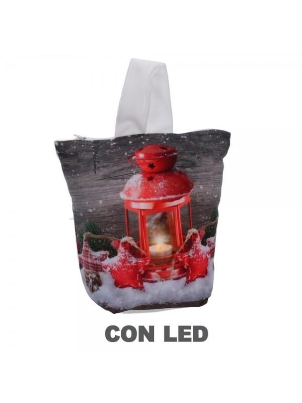 Fermaporta tessuto lanterna led con maniglia cm 20 x 10 h28