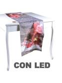 Runner tessuto con led lanterna rosso cm 40 x 146