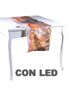 Runner tessuto lanterna bianca con led cm 40 x 145